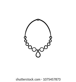 Necklace with gem hand drawn outline doodle icon. Female accessory - necklace vector sketch illustration for print, web, mobile and infographics isolated on white background.