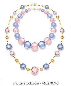 Necklace of gold chains and beads fashion, pink and blue on white background.