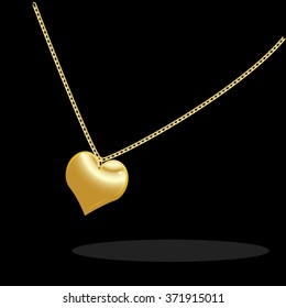 Necklace with golden heart on a black background