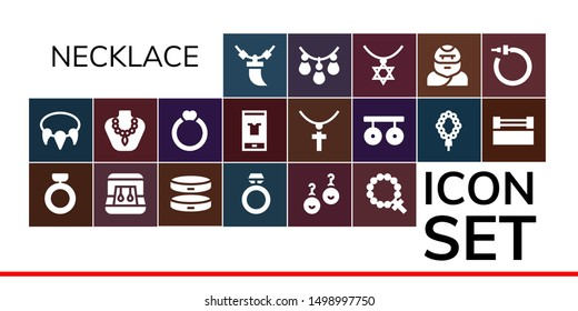 necklace icon set. 19 filled necklace icons.  Simple modern icons about  - Necklace, Ring, Earrings, Bracelet, Rosary, Fashion, Jewelry, Rings, Troglodyte
