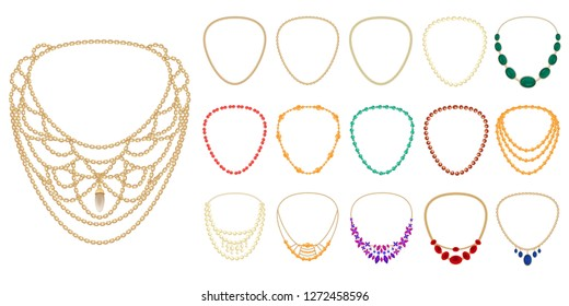 Necklace icon set. Cartoon set of necklace vector icons for web design