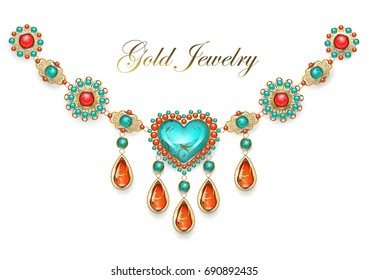 Necklace in oriental style with heart, adorned with turquoise and jasper on white background.