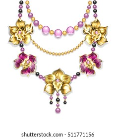 Necklace of pink, gold, black beads and orchids on light background.