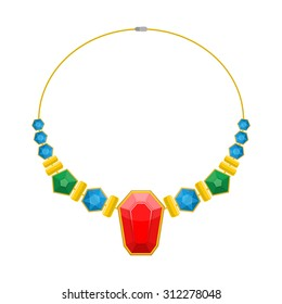 Necklace of precious stones. Beautiful rich jewelry. Luxurious beads vector illustration. Colored gemstones