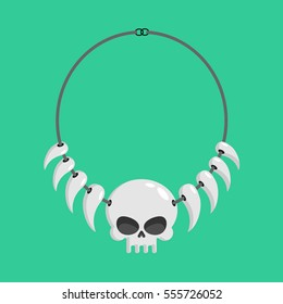 necklace of skulls and tusks. ethnic Decoration indigenous cannibal tribes