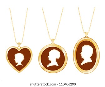 Necklaces, Family, antique gold engraved jewelry, gold chains, vintage ivory cameo portrait silhouettes: child, lady, gentleman pendants. Old fashioned Victorian style keepsakes. EPS8 compatible.