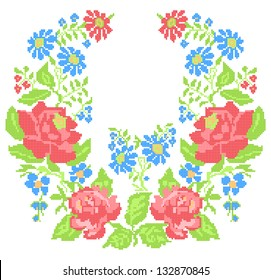 Neckline embroidery (cross-stitch)