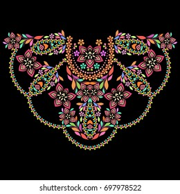 Neckline ethnic design. Floral colorful traditional pattern. Vector print with decorative elements and paisley for embroidery, for women's clothing.