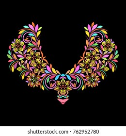 Neckline ethnic design. Floral colorful traditional pattern. Vector print with decorative elements  for embroidery, for women's clothing.