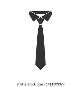 Necktie black graphic icon. Necktie sign isolated on white background in flat design. Vector illustration