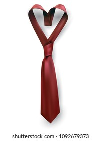 Necktie for Fathers day gift post greeting card banner poster. Relistic satin blue knot. Male tie design.Symbol of father and son.Heart shaped symbol of love and respect.
