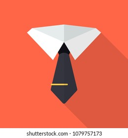Necktie flat icon with long shadow isolated on orange background. Simple tie sign symbol in flat style. Suit Vector Element Can Be Used For Necktie, Shirt, Suit Design Concept.