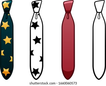 Necktie with four-in-hand knot in four variants set isolated illustration. Colored, line version, with pattern. White background, vector.