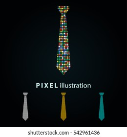 Necktie - pixel icon. Vector Illustration. Design logo element. Isolated on black background. It is easy to change to any color.