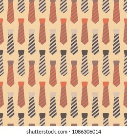 Necktie Seamless Pattern - Rows of striped neckties seamless pattern in cream, yellow, orange, and brown colors for Father's Day