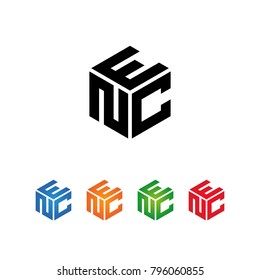 NEC,NCE,CNE,CEN,ENC,ECN Logo Initial three letters Template.Modern Style. Hexagon shape concept.Black,Blue,Orange,Green,Red color on white background