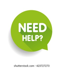 Need help? (question icon) Speech bubble vector green