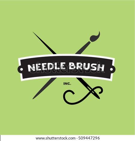 Needle Brush Handcraft Logotype Idea Retro Stock Vector Royalty