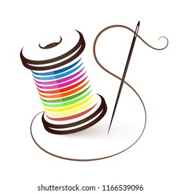 Needle and coil of colored threads