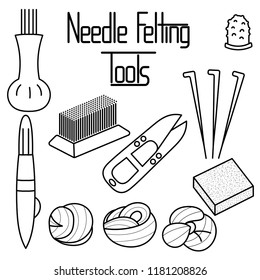 Needle Felting Tools in thin line style icons set vector illustration