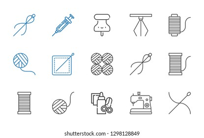 needle icons set. Collection of needle with sewing machine, handcraft, wool ball, thread, sewing, wool balls, hook, pushpin, syringe. Editable and scalable needle icons.
