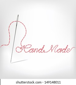 Needle with thread  hand made. Vector illustration