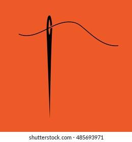 Needle and thread icon vector illustration. Orange background