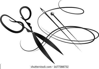 Needle with thread scissors silhouette for sewing and cutting