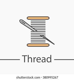 Needle and thread symbol. Line icon