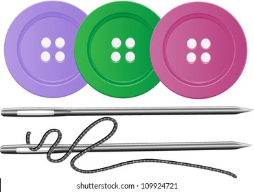 Needle and Thread with three buttons,Sewing,Vector EPS10