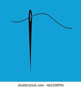 Needle and thread vector icon illustration. Blue background