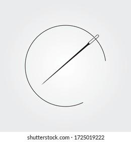 Aiguille avec icône vectorielle de thread. Symbole de concept de couture ou élément de conception