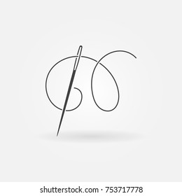 Needle and thread vector modern icon or design element