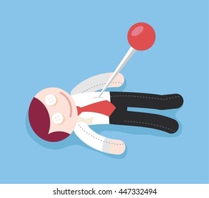 Needle in voodoo doll. Vector flat cartoon illustration