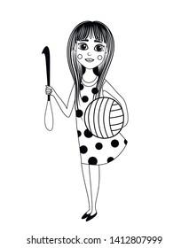 Needlewoman. Crochet. Avatar. Vector illustration of a girl who knits handwork.