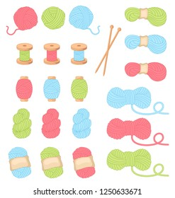 Needlework and crocheting and knitting. Bright yarn. Concept of women's leisure. Icons for sewing shop and other project. Women's hobby