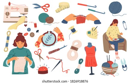 Needlework. Cute women sew, knit and embroidery, handmade collection. Needlecraft tools and instruments. Hobbies goods shop template, handicraft accessory advertising. Vector wool and cotton yarn set