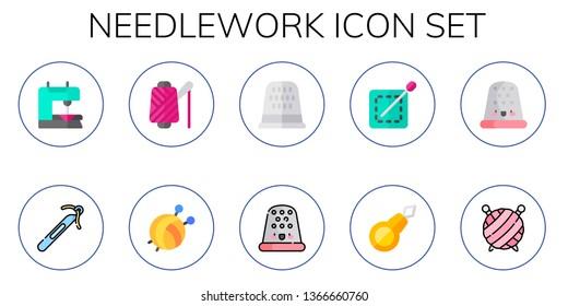 needlework icon set. 10 flat needlework icons.  Collection Of - sewing machine, crochet, spool, yarn ball, sewing thimble, thimble, sewing, threader, wool ball