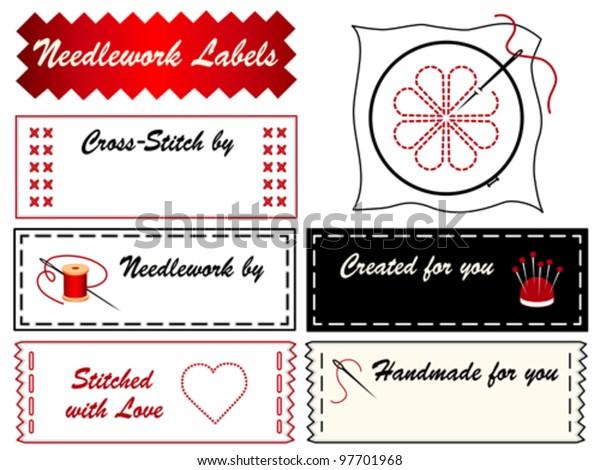 Needlework Sewing Labels Hoop Needle Thread Stock Vector