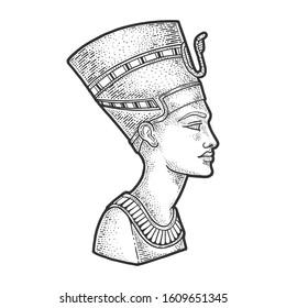 Nefertiti Ancient Egyptian Pharaoh statue sketch engraving vector illustration. T-shirt apparel print design. Scratch board imitation. Black and white hand drawn image.