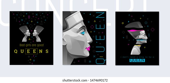 Nefertiti, Cleopatra queen poster in memphis trendy style. Girl fashion concept. Geometric shapes & ancient Egyptian power girl portrait. Cool slogan design set, vector illustration, black background