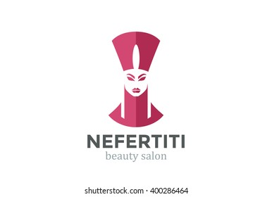 Nefertiti Head silhouette Beauty SPA salon Logo design vector template. Ancient Woman Logotype concept icon Negative space style.