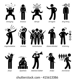Negative Bad Personalities Character Traits. Stick Figures Man Icons . Starting with the Alphabet A.