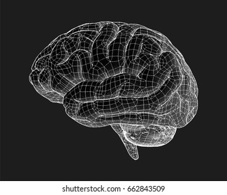 Negative brain drawing side view with wireframe illustration on black background