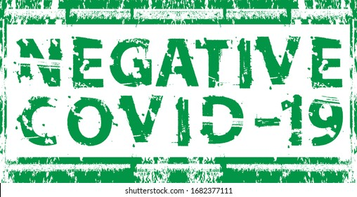Negative covid-19 . Red grunge stamp. vector