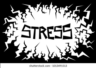 Negative environment is causing stress - mind and mental condition is under pressure - disturbing and uneasy feeeling. Vector illustration