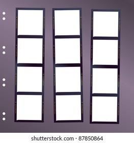 negative medium format film contact sheet, blank frames