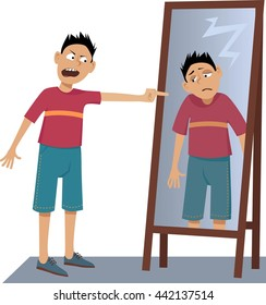 A negative person screaming at his own sad reflection in the mirror, EPS 8 vector illustration, no transparencies