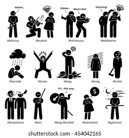 Negative Personalities Character Traits. Stick Figures Man Icons. Starting with the Alphabet M.