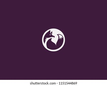 Negative space fox logo for illustration